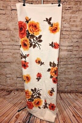 Vtg 50s MCM Orange Gold Floral Flower Terry Cloth Terrycloth Tablecloth 61 x 49