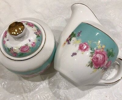 Grace's Teaware Creamer & Sugar Bowl -Green With Roses Gold Trim- New Free Ship
