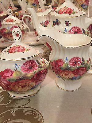 Grace's Teaware Creamer & Sugar Bowl -Flowers With Butterflys Gold Trim- New
