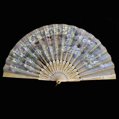 Antique Victorian Hand Fan Bone Carved Gilt / Silk with Spangles
