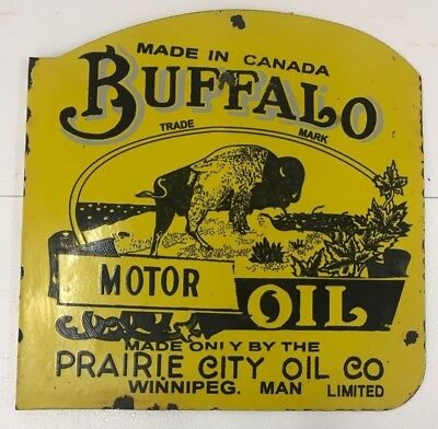 Buffalo Motor Oil Porcelain Enamel Diecut Sign 24X24X1 Inches Flange Double Side