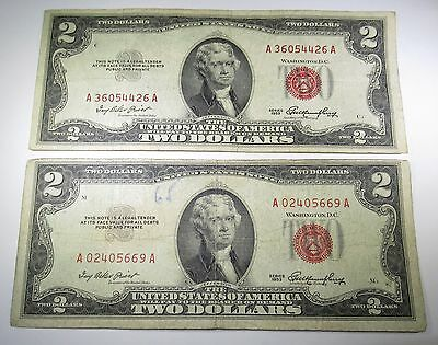 Lot of 2 1953 U.S. Two Dollar Bills 2 US Paper Notes Antique Currency Collection