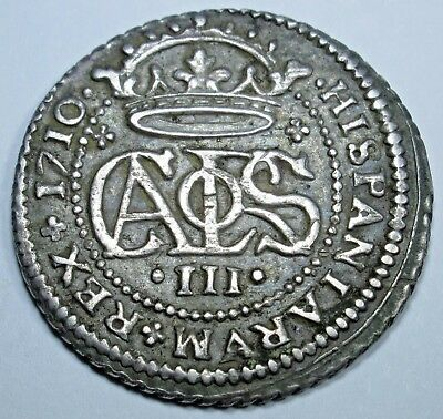 1710 AU-BU Spanish Silver 2 Reales Piece of 8 Real Colonial Pirate Treasure Coin