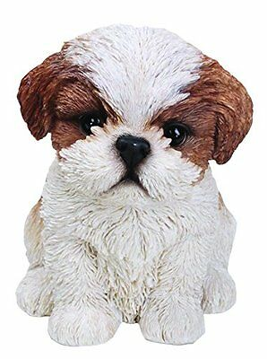 Sitting SHIH TZU Puppy Dog - Life Like Figurine Statue Home / Garden NEW