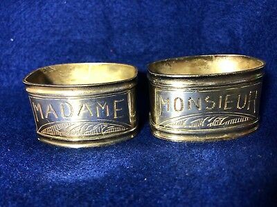 Vtg Madame & Monsieur Etched Silver Plated French Napkin Rings Mr. Mrs. Wedding