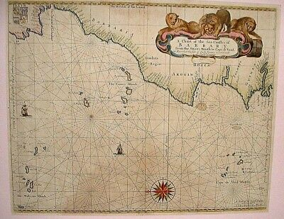 an original late 1600's or early 1700's sea chart of SW  Europe & NW Africa