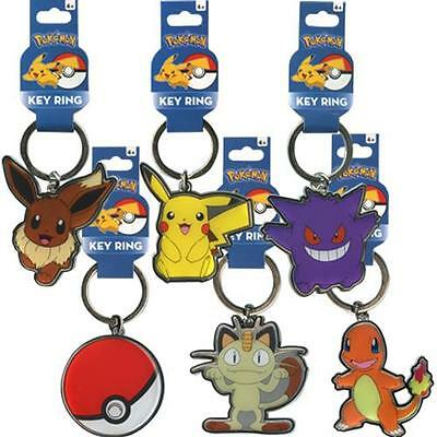 "Pokemon Metal Key Chain Ring 2"" inch Pikachu,Meowth,Evee, Pokeball,Charmander"