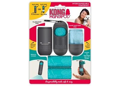 KONG HANDIPOD INTERCHANGEABLE STARTER KIT- Poop Bags - Torch - Hand Sanitiser