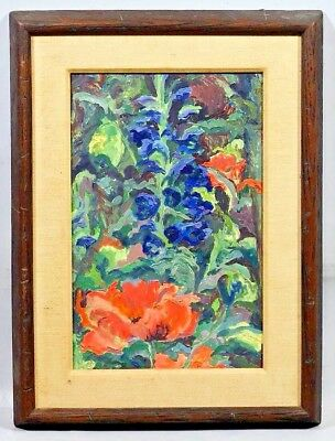 DAVID ROLT*listed British artist*poppies & delphiniums*RARE*price reduced again!