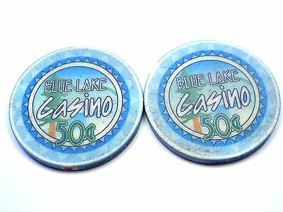 Lot of 2 BLUE LAKE Hotel & Casino 50c 50 cent Chip Set California CA