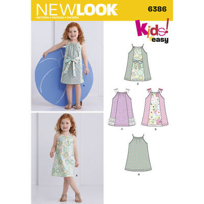 New Look Sewing Pattern 6386 Toddlers Girls SZ ½-4 Easy Pillowcase Top Dress