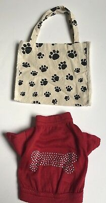 Paws N Claws Dog Doggie Red Bling Studded Dog Bone T Shirt Size Small Treat Bag