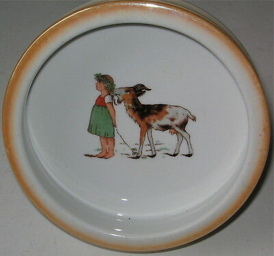 Vintage Childs Dish Little Girl With A Goat