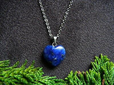 Lapis Lazuli Heart Pendant Necklace Natural stone Staineless Steel Chain Healing