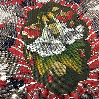 Antique Victorian Woolwork and Beadwork Banner