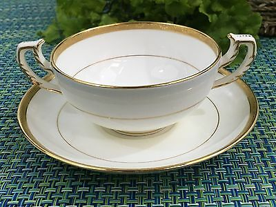 Antique Mintons MINTON Gold Rim Coupe Soup and Saucer for Burley & Co Chicago