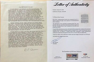 B.F. Skinner Signed Autograph PSA/DNA LOA- Excerpt of His Book ABA / Behaviorism