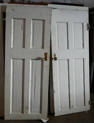 "2 Solid White Matching Wood Doors Original Antique 77"" x 30"" Excellent"