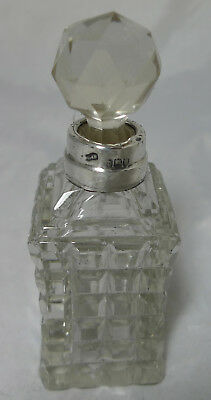 Edwardian Silver & Cut Glass Scent Bottle London 1913 A652817