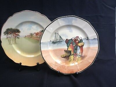 2 Royal Doulton England Series Cabinet Plates - Rn597783 And D4987.