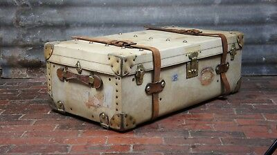Vellum And Leather English Cabin Trunk Antique Chest