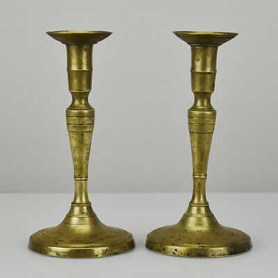 Antique Empire Brass or Bronze Candlesticks Pair of Candle Holders Early 19th C