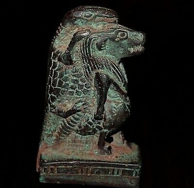 RARE ANCIENT EGYPTIAN  FAIENCE Beautiful statue of TUARETE & SOBEK (600–1000) BC