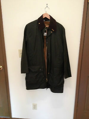 BARBOUR A200 BORDER WAXED COTTON JACKET & Optional A295 ACRYLIC SNAP IN LINER M
