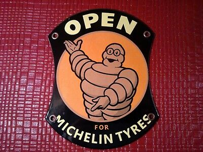 """Michelin Tyres Open..""""retro Look"""" Porcelain Sign..near Mint..rare..great Colors"""