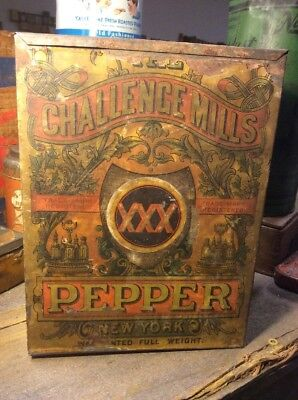 Vintage Challenge Mills XXX Pepper Spice Tin Can New York Store Bin Paper Label