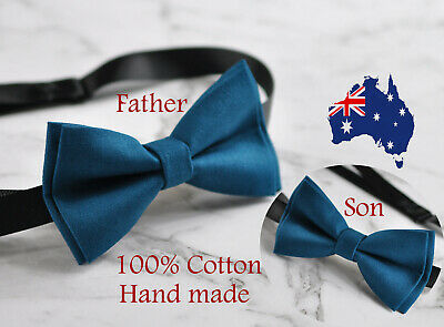 Father Son Match 100% Cotton Handmade Petrol Blue Bow Tie Bowtie Party  Wedding