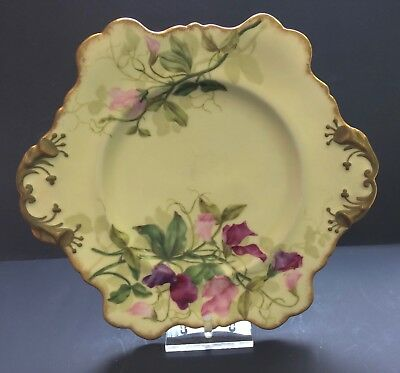 Antique 1890 Victorian Hand Painted Plate Sweet Peas