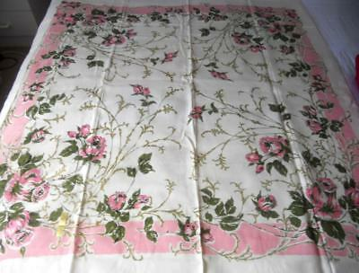 Gorgeous Unused Vintage 1960S Rayon Table Cloth Pink Green Roses 122 X 127 Cms