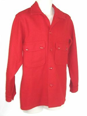 Vtg 50-60's BOY SCOUTS of America Men RED Wool Shirt HUNTING Coat Jacket 38 Sm