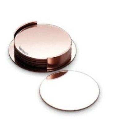 Set of 6 S&P Round Rose Gold Coasters with stand Glass Mirror Boxed Salt Pepper