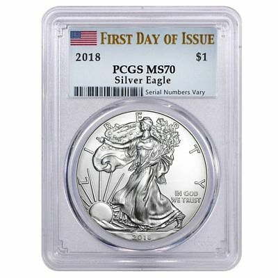 2018 1 oz Silver American Eagle $1 Coin PCGS MS 70 FS (Flag Label) First Day X