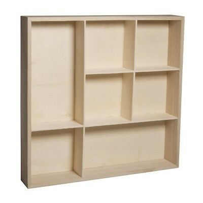 Collectors Display Cabinet Wall Mounted Wooden Shelves Modern Compartment UK New