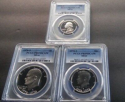 3 coin 1976 Silver set $1, 50C, 25C 1976 S PCGS PR69DCAM Silver graded set of 3