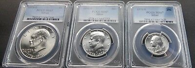 3 coin 1976 Silver MS set $1, 50C, 25C 1976 S PCGS MS67 Silver graded set of 3