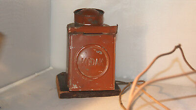 Antique Kodak dark room lamp Eastman Oil burner Light Electrified Bulb Electric