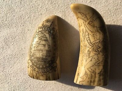 "Scrimshaw Replica 2 Pieces 1860 The ""Dakota"", +""Victory"" Whale Teeth"