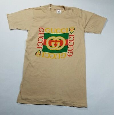 Vintage  NOS 1980s Gucci T Shirt Bootleg Retro 80s USA Made Womens XS S