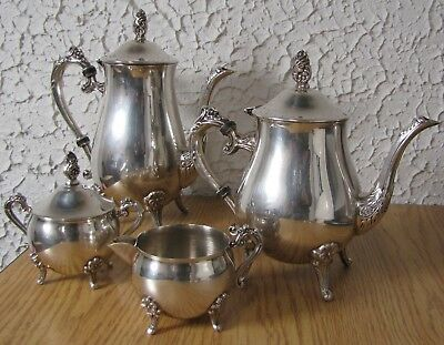 VTG Viking EP on Brass teapot coffe pot creamer & sugar container silverplate