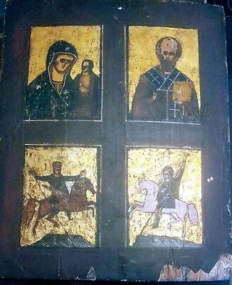 Antique 19C Russian Large Hand Painted Icon Of The Four Parts Rare! No Reserve!