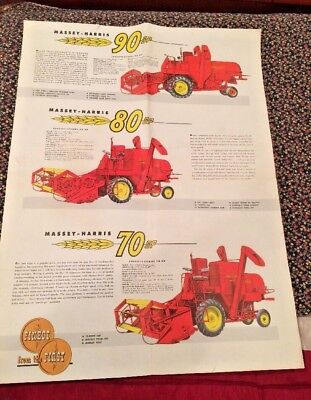 Vintage Original Massey Harris 90 80 70 Combine Large Fold Out Mailing Poster