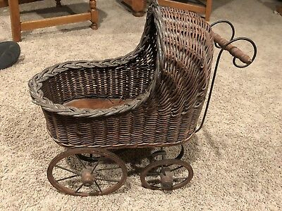 "Reproduction Doll Stroller Wicker, About 18"" Long X 19"" High X 8"" Wide"