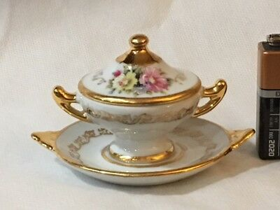 Limoges Miniature Covered Tureen and Platter White/Gold Flowers  Item #5223