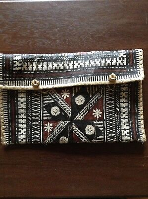 Vintage Polynesian Tapa Bark Cloth Bag