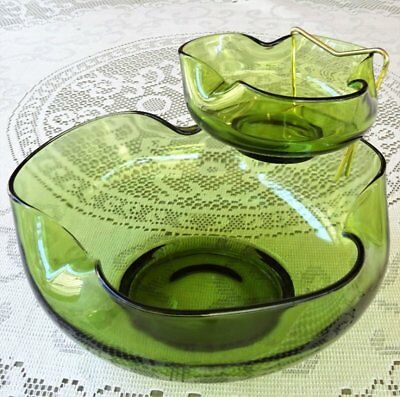 Retro/Vintage 1970's *OLIVE GREEN 'CHIP & DIP' SET* made by Anchor Hocking U.S.A