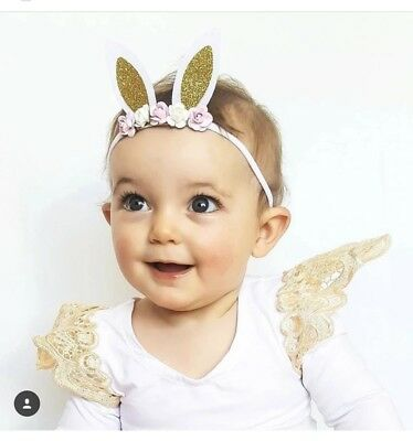 EASTER Bunny Gold Silver Pink Roses Rabbit Ears Headband Baby Girl Gift